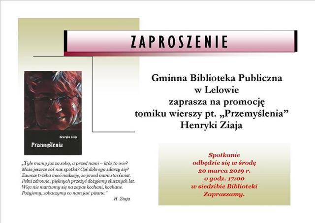 """W środę 20 marca br. odbyła się promocja tomiku wierszy pt. """"Przemyślenia"""" Henryki Ziaja."""
