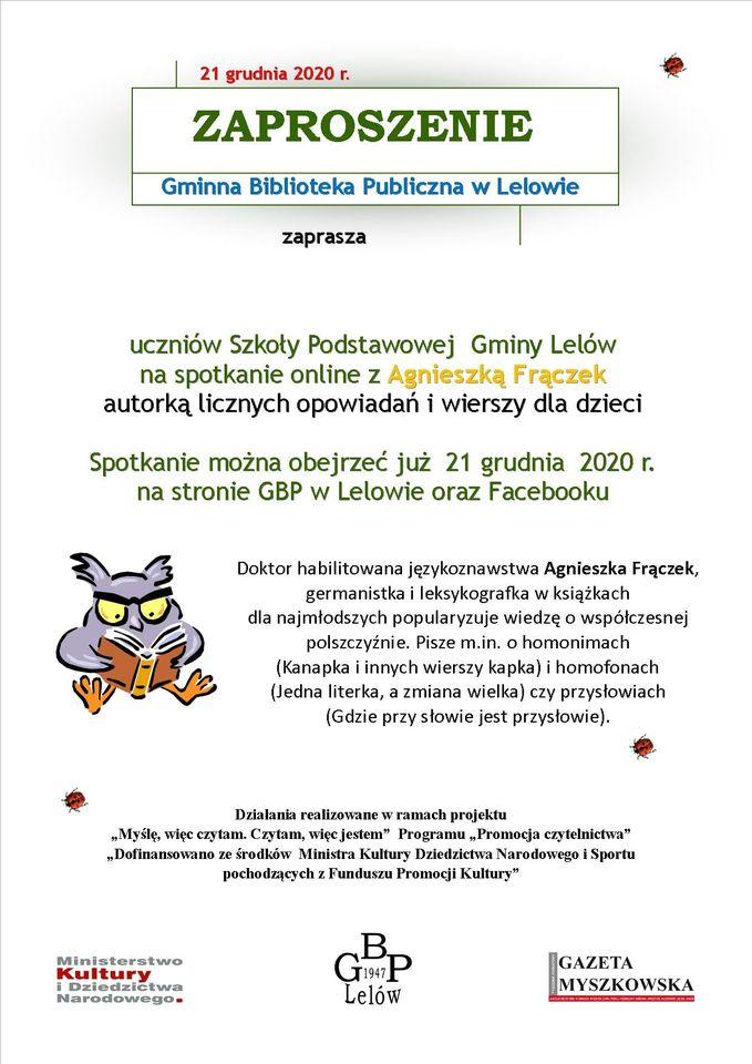 Spotkanie autorskie online z Agnieszką Frączek